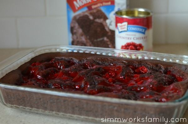 """Easy Black Forest Cake - Prepare 1 box Devil's Food cake mix, as instructed on box. Pour into a greased 9×13"""" pan. Spoon a can of cherry pie filling on top of batter. Bake at 350 for 33-38 min or till toothpick comes out clean. Let cool completely. Before serving, top with whipped cream and enjoy or simply leave it as is."""