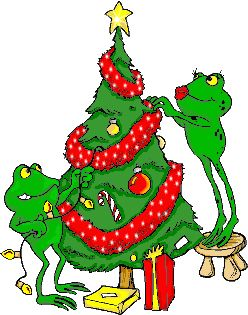 CHRISTMAS FROGS DECORATING THE TREE GIF