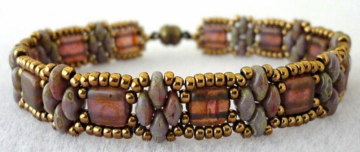 "Linda's Crafty Inspirations: Bracelet of the Day: Tweaked Stacker - Milky Alexandrite 11/0 seed beads Miyuki ""Dark Bronze"" (11-457D) SuperDuo beads ""Opaque Violet Travertin"" CzechMates ""Milky Alexandrite Copper Picasso"""