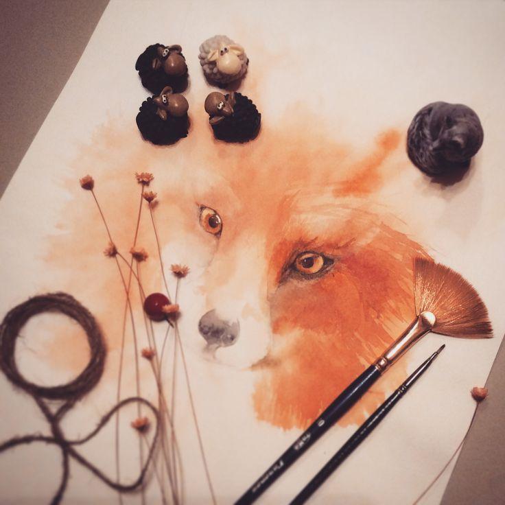 #Fox #watercolor #sketch