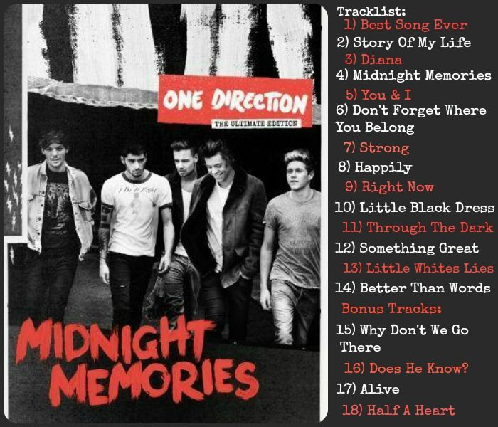 One Direction Midnight Memories Deluxe Tracklist I just ...