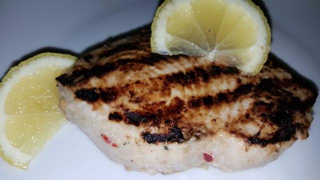 Garlic chilli and lemon swordfish
