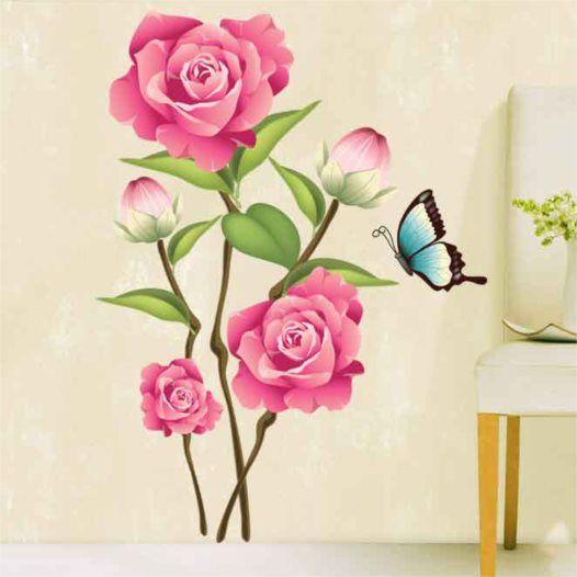 Hemdekor - Väggdekor Rosa roser och fjäril