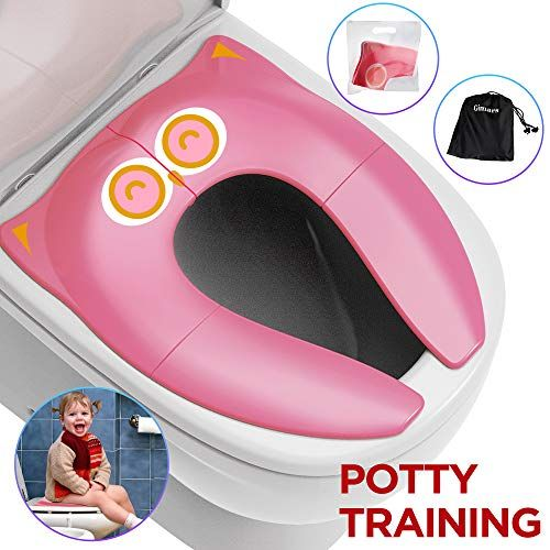 Folding Large Non-Slip Potty Training Seat for Boys and Girls Travel Portable Reusable Toddlers Toilet Seat Covers Liners Fits Round /& Oval Toilets with Carry Bag