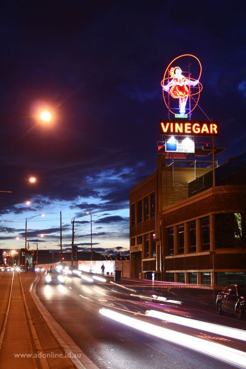Little Audrey.    The heritage-listed Skipping Girl Vinegar sign in the Melbourne suburb of Abbotsford, Victoria, Australia. The sign was re...