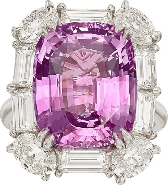 Pink Sapphire, Diamond, Platinum Ring The ring features a cushion-shaped pink sapphire measuring 14.94 x 11.92 x 7.66 mm and weighing approximately 11.45 carats, enhanced by oval-shaped diamonds weighing a total of approximately 1.60 carats, accented by baguette-cut diamonds weighing a total of approximately 2.30 carats, set in platinum, marked Tiffany & Co.