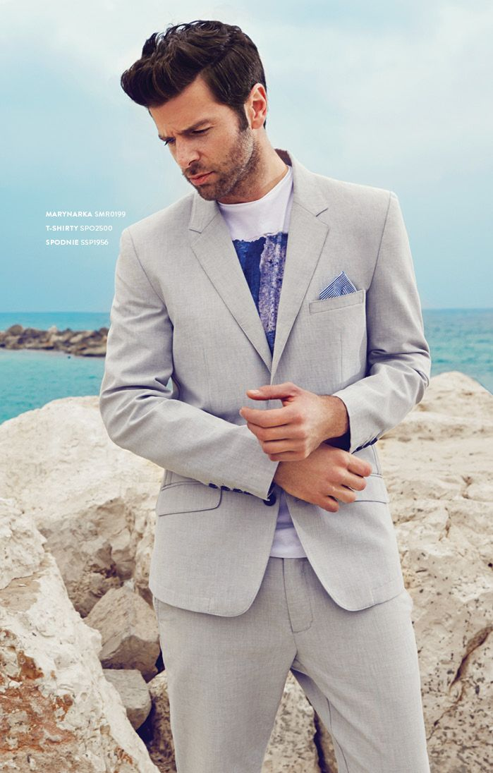 Szary letni garnitur męski #topsecret