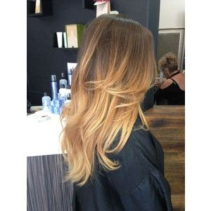 Light brown to golden blonde ombre hair