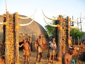 Zulu homestead, protected by young Zulu guards