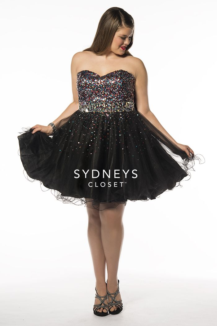 Little Tease SC8073 | Plus Size Strapless Cocktail Dress With Multi-Colored Sequined Bodice | Sydney's Closet