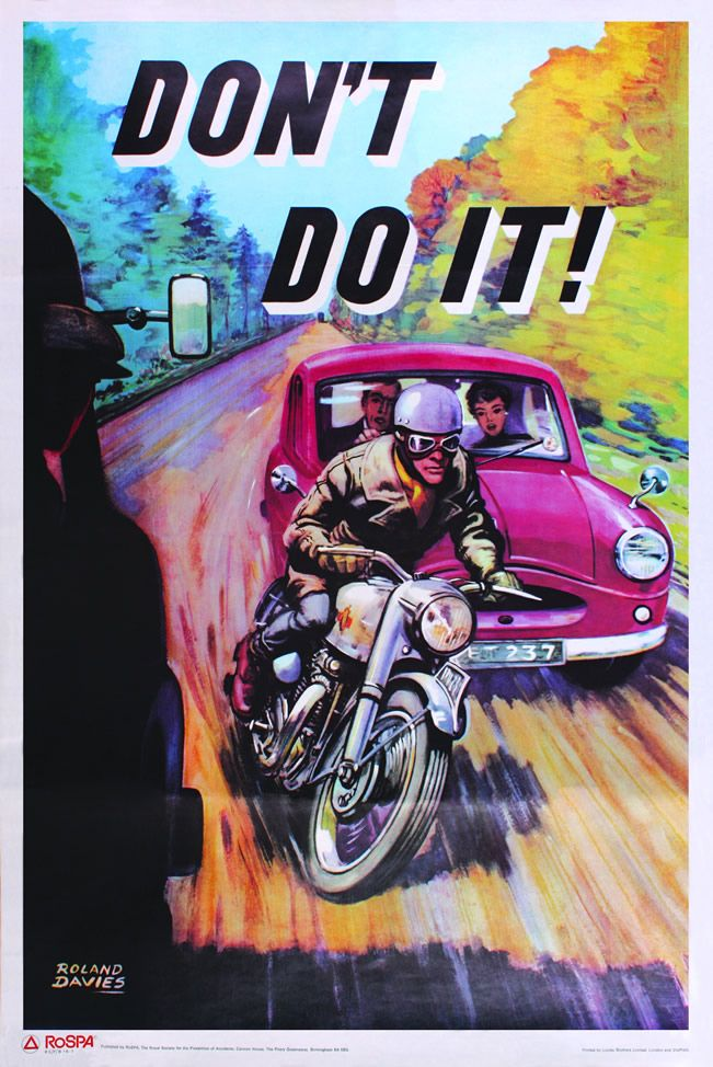 I love the colors used in this. Don't Do It, Roland Davies | Vintage Road Safety Posters