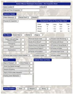 Hive Inspection Sheet