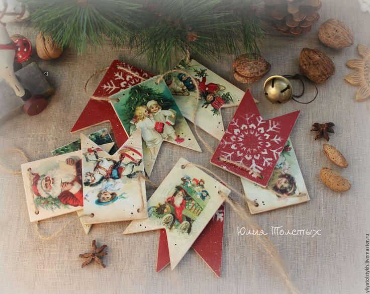 """Купить Гирлянда из флажков """"Винтажное рождество"""" - комбинированный, красно-зеленый, гирлянда, гирлянда для фотосессии"""