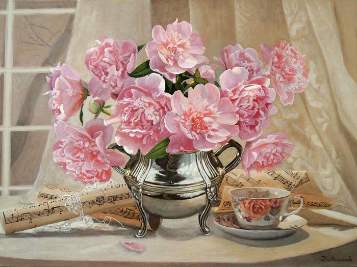 Kwiaty peonie obraz olejny autor Tomasz Mrowiński