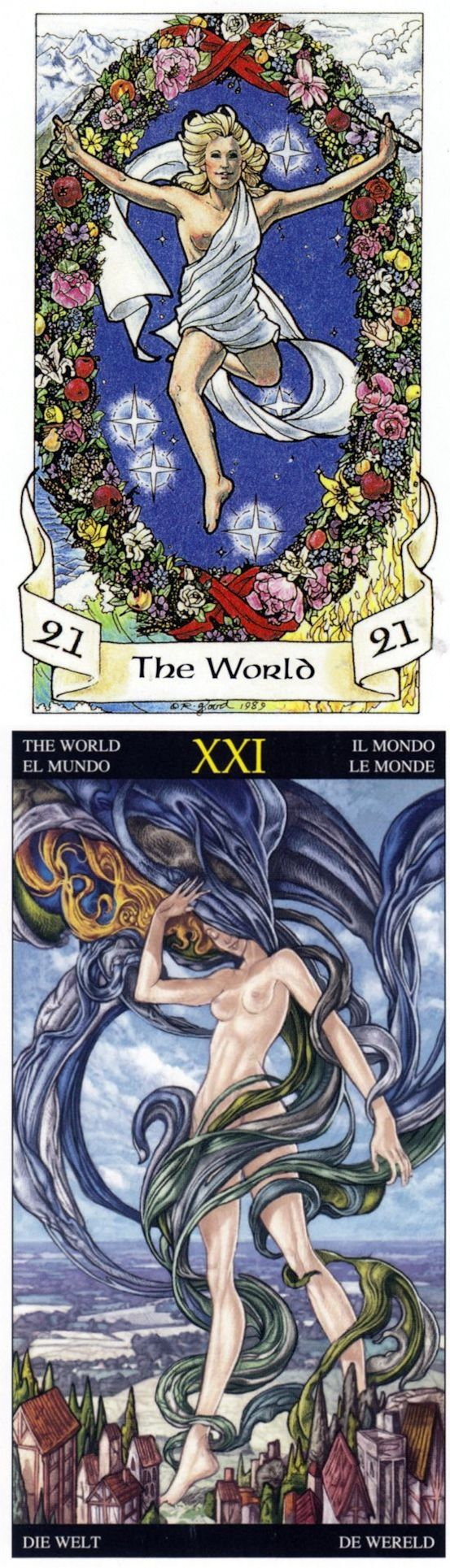 THE WORLD: wholeness and no closure (reverse). Robin Wood Tarot deck and Universal Fantasy Tarot deck: love tarot online, lotus tarot online and haindl tarot. New spells witchcraft and predictions.
