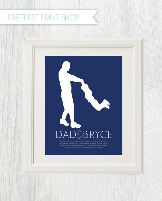 Printable - Father and child silhouette - Dad definition - Father's Day gift - Customizable on Etsy, $15.00