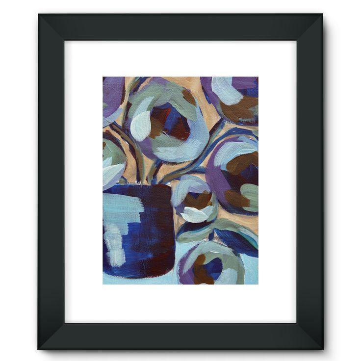 """Blue Abstract Floral"" Framed Fine Art Print"