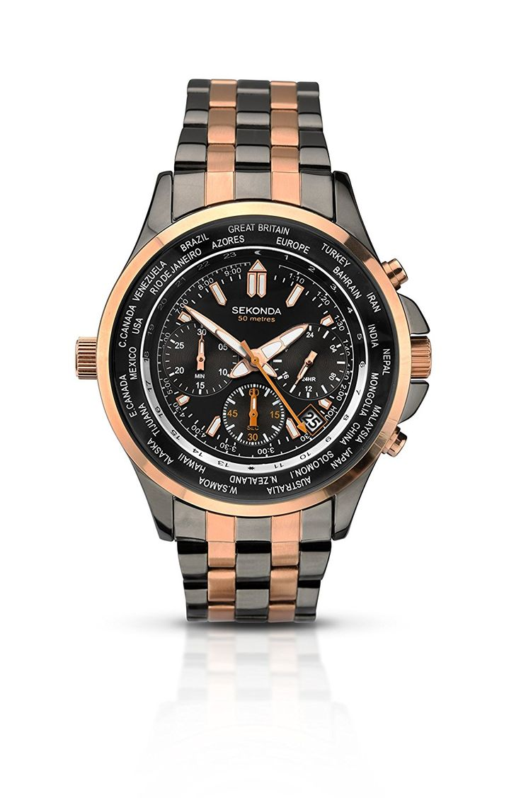 Sekonda Men's Quartz Watch with Black Dial Chronograph Display and Grey Stainless Steel Bracelet 1025.28: Amazon.co.uk: Watches
