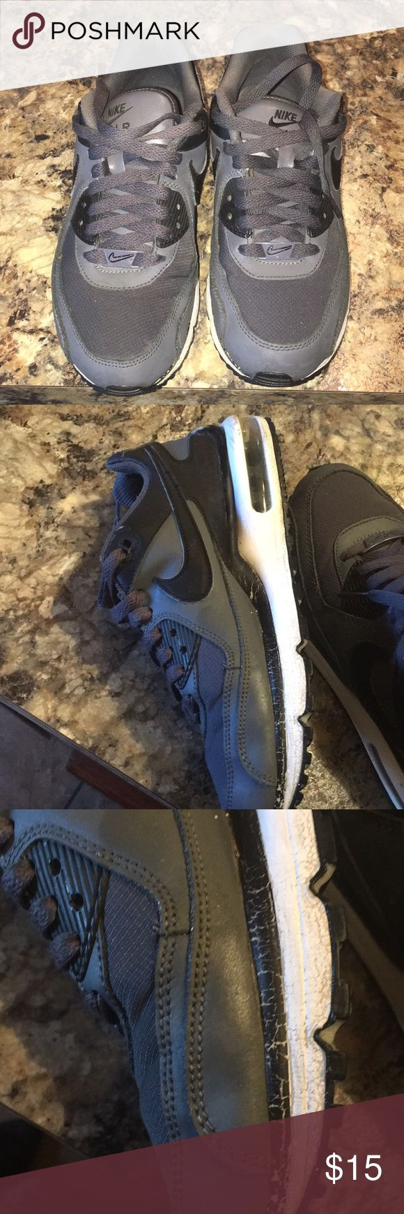Girls air max shoes Shoes size 5. Color gray and black... has signs of wear paint has faded on the side bottom of shoes which is pictured. Shoes still has some wear Nike Shoes Sneakers