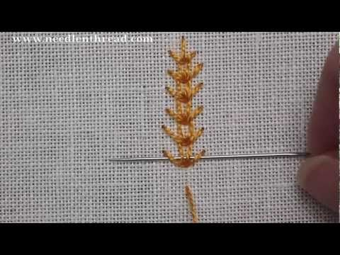 Wheatear (or wheat) stitch - a really easy embroidery stitch that creates a chain stitch line with little barbs, so that the finished stitch looks like wheat. More info or photos? visit: http://www.needlenthread.com/2007/01/wheat-stitch-video-tutorial.html