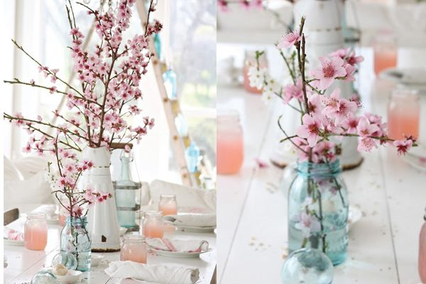 Love the idea of Cherry Blossom branches (we're getting married during the Cherry Blossom Festival).  It would be great if we could use the branches for centerpieces without them looking too sparse.