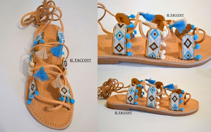 Handmade Ancient Greek Sandals, Braids, Pom Pom, Tassels!!! Il Tacco!!!