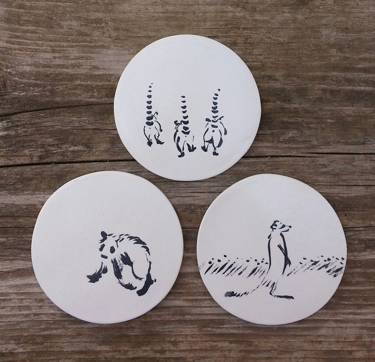 Handpainted ceramic coasters. Homedecor, kitchenware, kitchen, unique, animals. Coasters by Aura Kajas