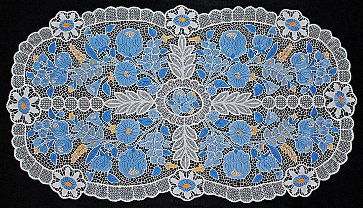 sacred geomerty in Hungarian folk art - hungarian embrodiery sacred geometry -  Blue Kalocsa embrodiery (kék kalocsai hímzés) - A magyar népművészet, népviselet és a szakrális geometria
