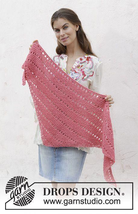 Xaile tricotado de baixo para cima, em ponto jarreteira e renda, na DROPS Air.
