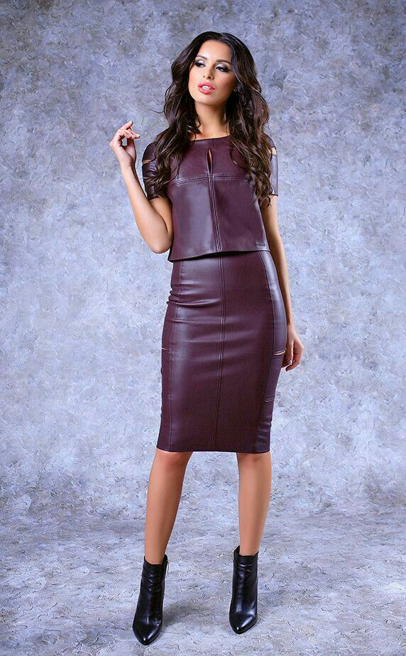 Burgundy leather top and pencil skirt ensemble