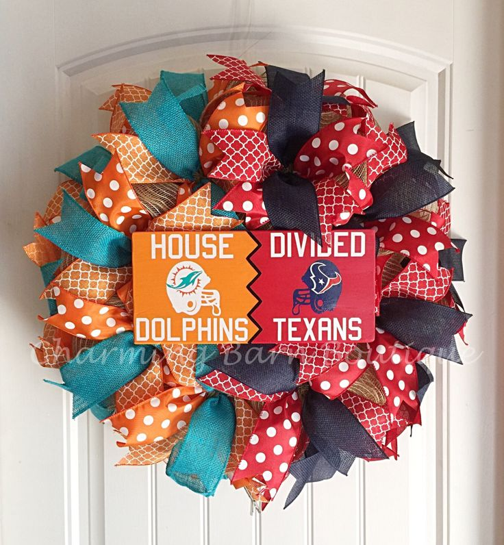 Custom Order for LYNNI, House Divided Wreath, Houston Texans Wreath, Miami Dolphins Wreath, NFL Wreath, NFL Decor, Texans Decor, Miami Decor by CharmingBarnBoutique on Etsy
