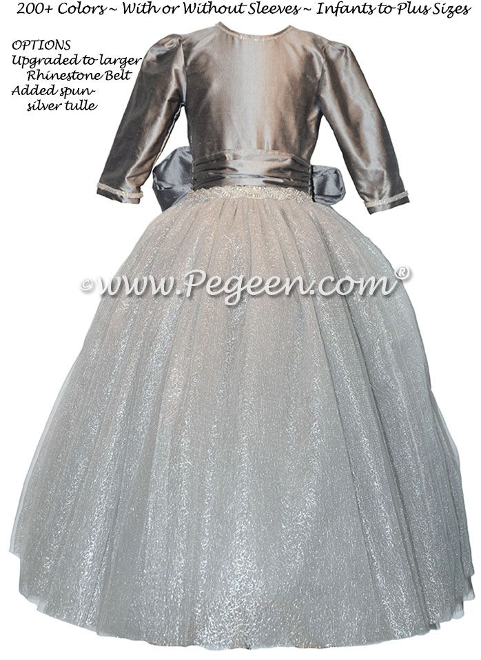 171279b6dc Silver Gray and Rhinestone Bling Belt with tulle flower girl dresses ...