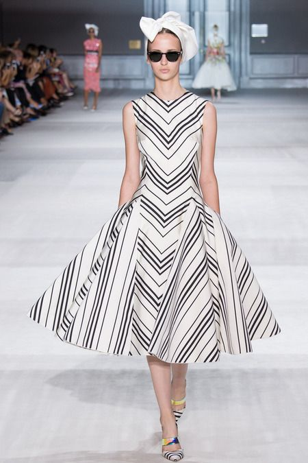 Giambattista Valli | Fall 2014 Couture Collection | Style.com, black stripes on white - cut to create perfect chevrons