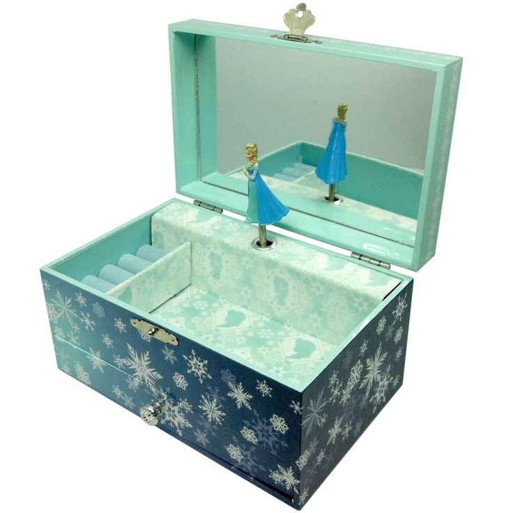 La boîte à bijoux musicale Elsa la Reine des neiges par Trousselier divertit l'enfant des heures durant. Cette boîte musicale permettra aussi de ranger et cacher tous ses petits trésors et bijoux.