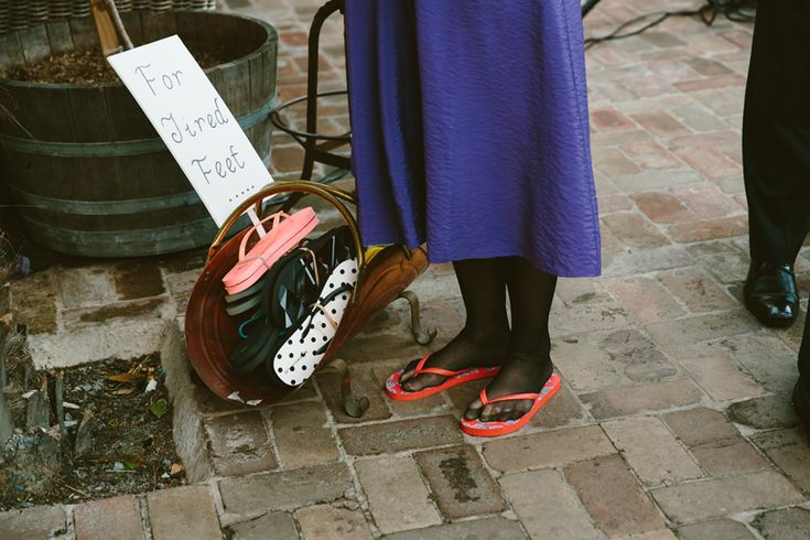 Thongs/ Flip flops for wedding guests. Image: Cavanagh Photography http://cavanaghphotography.com.au