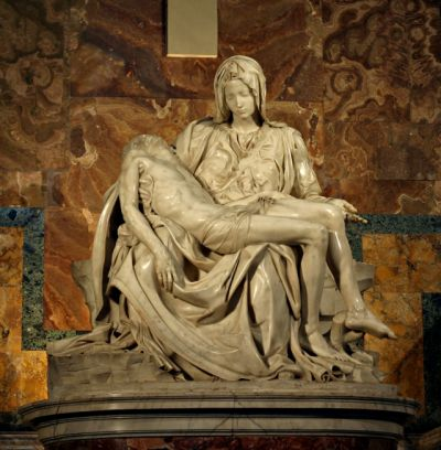 "life-imitates-art-far-more: ""Michelangelo (1475-1464) ""Pietà"" (1499) Carrara Marble High Renaissance Located in St. Peter's Basilica, Vatican City This is the only art piece by Michelangelo that he ever signed. """