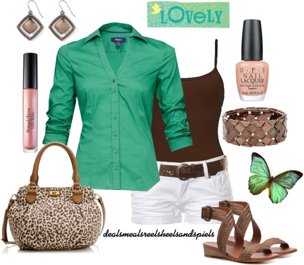 """""""green, brown, & a touch of cheetah"""" by enjoytheview on Polyvore"""