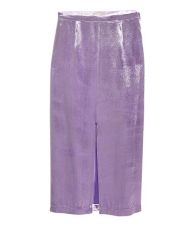 Purple. Skirt in soft velvet with mulberry silk content. Zip at side and slit at front. Unlined.