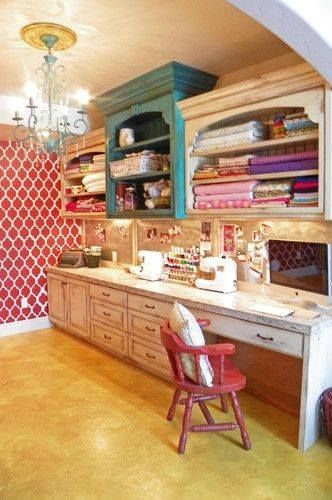 Gorgeous craft center from various pieces of repurposed furniture! You can merge big old pieces such as hutch tops, old workbench tables and scrap wood...so many possibilities for styles and sizes!