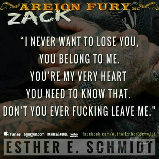 ¸.•´¸.•*´¨)✯ ¸.•*¨) ZACK ✮ (¸.•´✶ A MUST READ Areion Fury MC series, book one Esther E. Schmidt Zack's spent his whole life loving just one woman—Belle—only to have her walk out of his life and go half way across the world. But three years later, her unexpected return is stirring up feelings that never died, and Zack's ready to do whatever it takes to get her back. Belle has never gotten over Zack, but she has secrets—secrets she knows could hurt those closest to her, Zack included. When an…