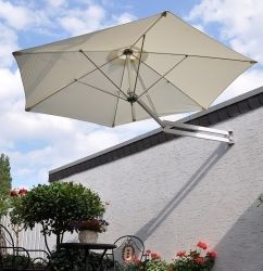 Leco wandparasol, aluminium frame, polyester dak naturel - De mooiste tuinartikelen bij Lecoshop.nl! Hoppashops.nl