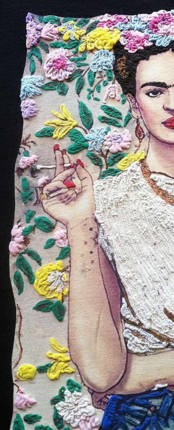 "Frida Kahlo T-shirt ART ( Fab Ceraolo portrait ) on T-SHIRT Painting 3d camiseta pintada de Frida ""No estoy enferma, estoy quebrada pero soy feliz hasta que pueda pintar"" Frida Kahlo .**If you prefere"