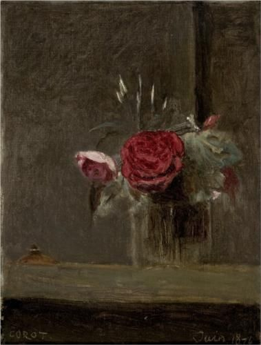 Roses in a Glass - Camille Corot, 1874.