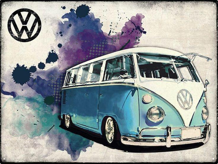METALEN BORDEN : VW Camper Grunge Light Blue metalen bord