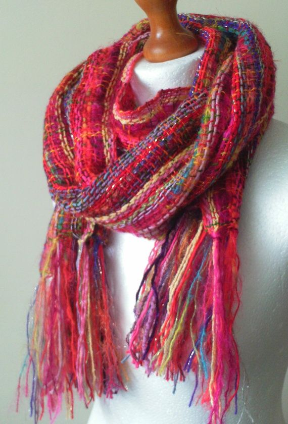 Vibrant Handwoven Scarf/Shawl Woven Scarf by LittleStickCreations