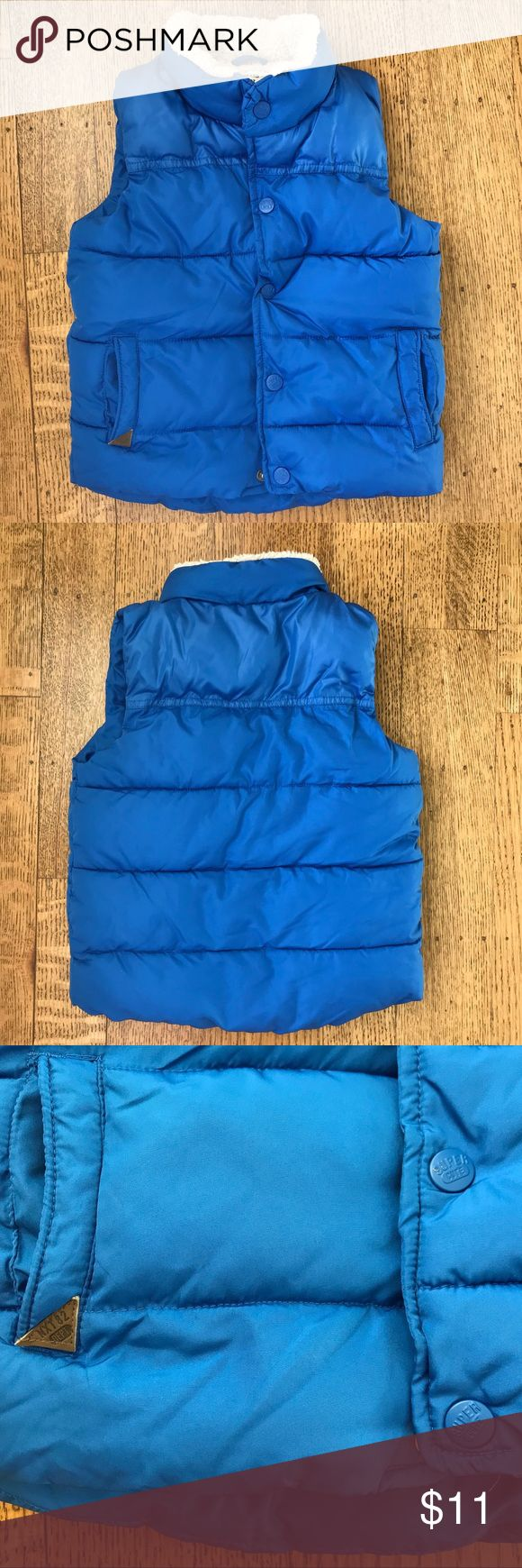 """NWOT Sz 2-3 Years Vest w Fleece Lining """"Next"""" brand (UK store comparable to Zara, H&M), gifted but didn't fit at right season. Cute deep/bright blue color, very cozy fleece, shearling-like lines entire inside. Front pockets also fleece lined. Never worn, tags removed. Smoke free pet free home. Next Jackets & Coats Vests"""