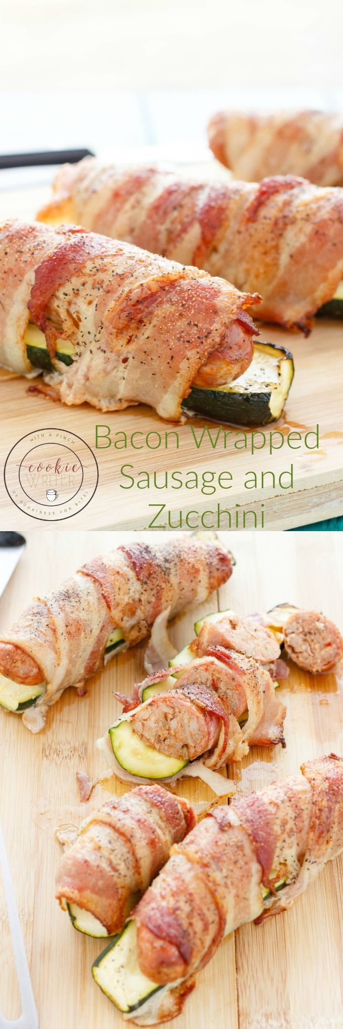 Bacon Wrapped Sausage and Zucchini | http://thecookiewriter.com | @thecookiewriter | #pork
