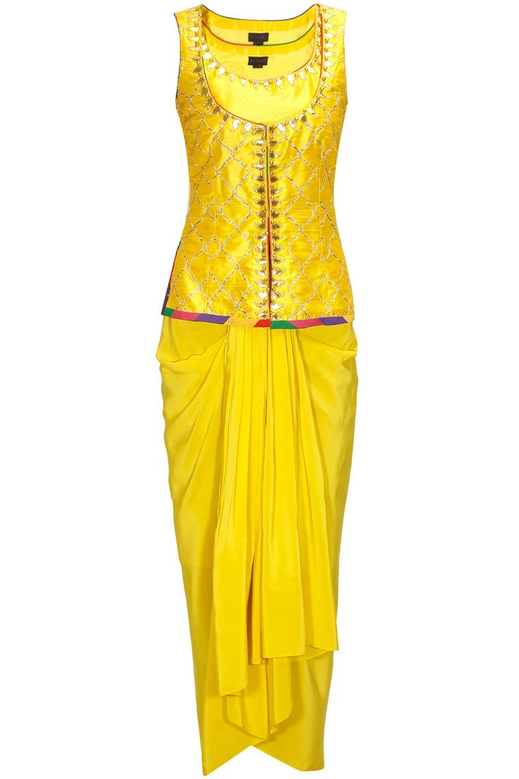 Yellow gota embroidered jaal jacket with draped lungi skirt available only at Pernia's Pop-Up Shop.