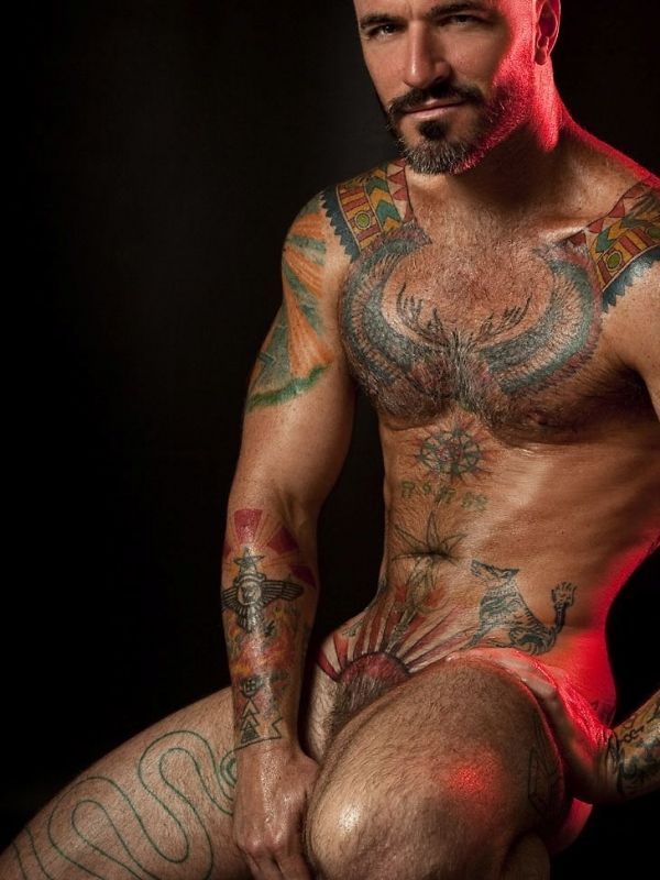 Straight tattooed muscle men