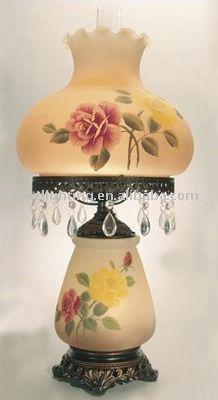 Hand Painted Rose Hurricane Lamp With Nightlight (HL 04) $24.0~$29.0
